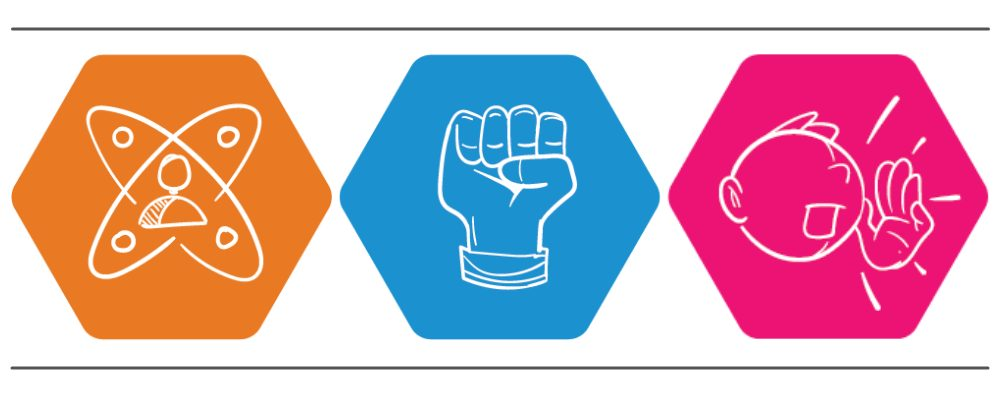 Orange, blue and pink icons each representing capacity, confidence and conviction.