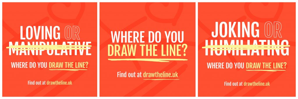 Draw the Line graphis - Loving or Manipulating - Where do you draw the line? - Joking or Humiliating