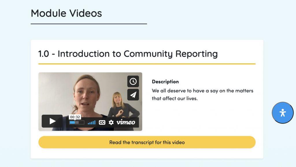 Screenshot of Module Videos showing translation into British Sign Language